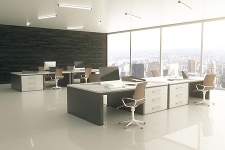 lampada: Sideview di ufficio interno luce con vista sulla città e la luce del sole. Rendering 3D