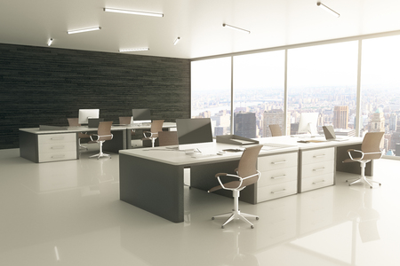 sideview: Sideview of light office interior with city view and sunlight. 3D Rendering