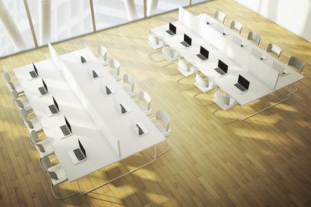 Topview of coworking space with wooden floor. 3D Rendering