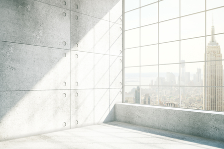 sideview: Sideview of concrete interior with NYC view and sunlight. 3D Rendering