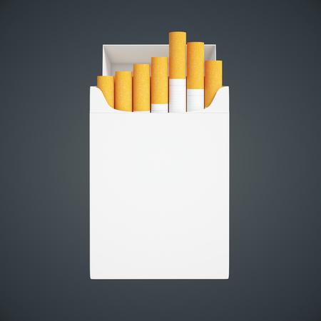 pack: Open white cigarette pack on dark background. Mock up, 3D Rendering Stock Photo