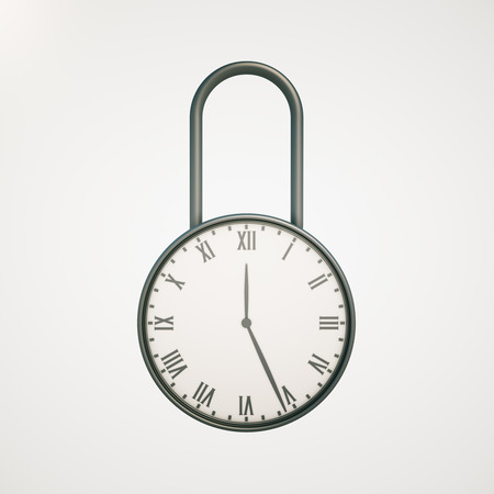 lock concept: Deadline concept with closed clock lock on light background. 3D Rendering