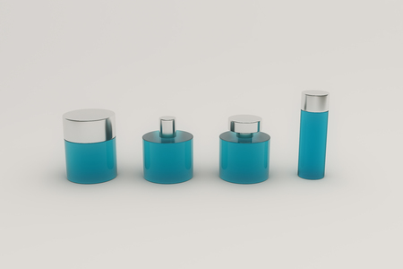 grey hair: Blue perfume bottles isolated on grey background. Mock up, 3D Rendering Stock Photo
