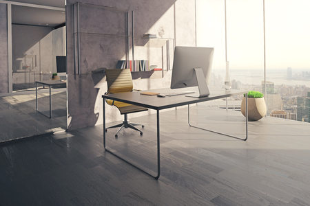 sunlit: Workspace in sunlit office interior with mirror, wooden floor and concrete wall. 3D Rendering