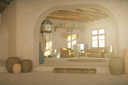 country style: Country style interior with various decorative items. 3D Rendering