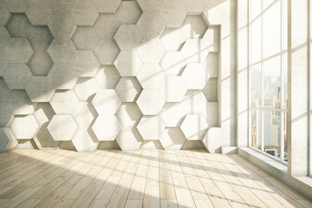 loft interior: Abstract honeycomb interior with light wooden floor and city view. 3D Rendering