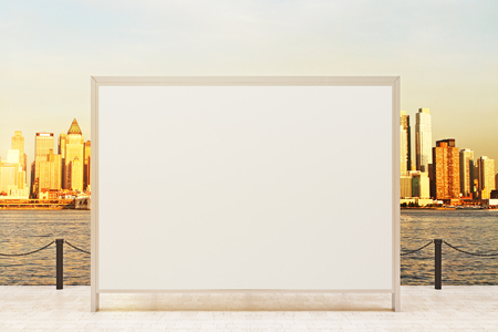 viewpoint: Observation ground with blank banner and sunlit city background. Mock up, 3D Rendering Stock Photo