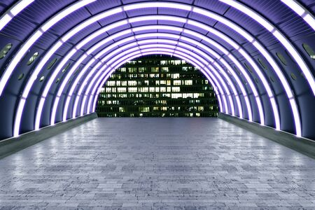 illuminated: Illuminated purple tunnel with brick tile floor and building view. 3D Rendering