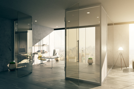 glass doors: Modern spacious office interior with glass door and city view. 3D Rendering