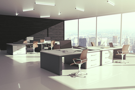sideview: Sideview of grey office interior with city view and sunlight. 3D Rendering Stock Photo