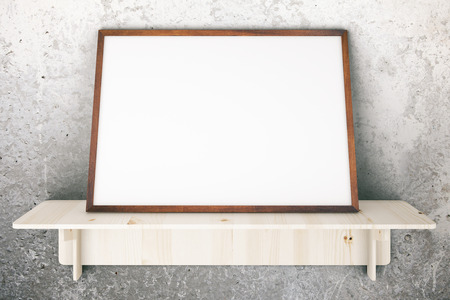 shelve: Wooden shelve with blank picture frame on concrete wall. Mock up, 3D Rendering