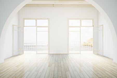 white wall: Interior design with light wooden floor and balcony. 3D Rendering Stock Photo