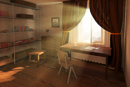 sunlit: Sunlit room interior design with worklpace, bookshelves, red curtains and sunshine. 3D Rendering