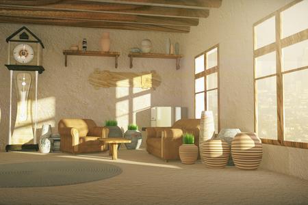 55975859 landelijke stijl interieur met verschillende decoratieve elementen 3d rendering