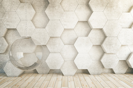 chair wooden: Closeup of honeycomb patterned wall in room with wooden floor and hanging chair. 3D Rendering Stock Photo
