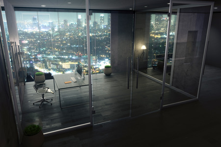 Office interior with illuminated night city view behind closed glass doors. 3D Rendering
