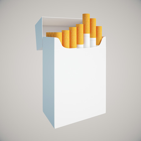 Sideview of open white cigarette pack on light background. Mock up, 3D Rendering