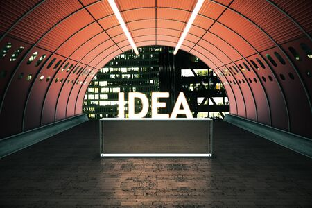 light at the end of the tunnel: Idea concept with stand in red tunnel illuminated by lamps. 3D Rendering