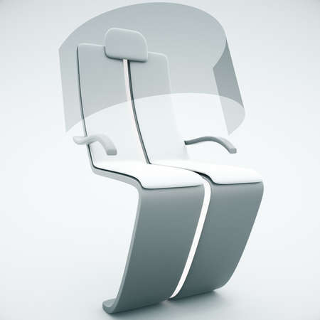 sideview: Sideview of futuristic chair with shield on light background. 3D Rendering Stock Photo
