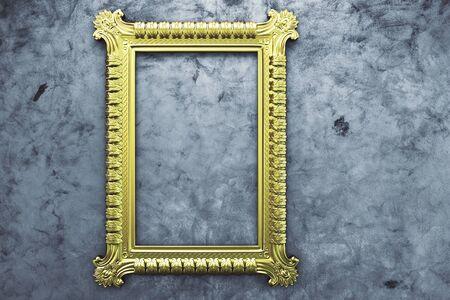 victorian frame: Golden picture frame on concrete background. Mock up, 3D Rendering