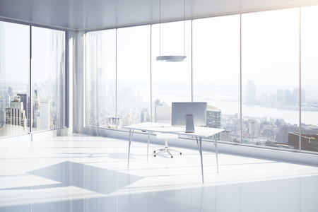 Sideview of white office interior with workplace, sunlight and New York city view. 3D Rendering
