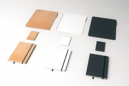 color spectrum: White surface with rows of notepads in the same color Spectrum. 3D Rendering