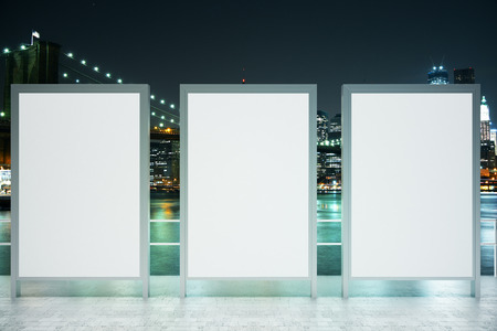 viewpoint: Observation ground with three blank banners on illuminated night city background. Mock up, 3D Rendering Stock Photo