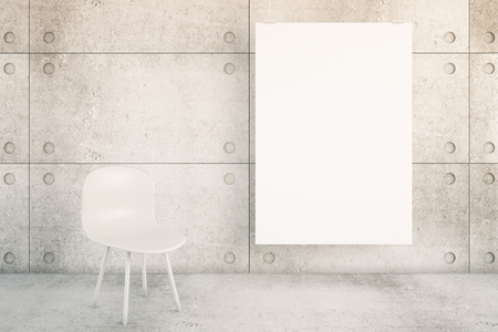 modern background: Concrete interior with blank poster and white chair. Mock up, 3D Rendering