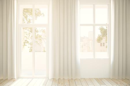 finestra: Finestre con vista sulla città e curtaints degli interni con pavimento in legno chiaro. Rendering 3D
