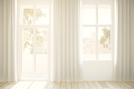 city light: Windows with curtaints and city view in interior with light wooden floor. 3D Rendering