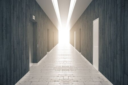 condominium: Corridor interior with dark wooden walls, brick floor, numerous doors and light at the end. 3D Rendering Stock Photo