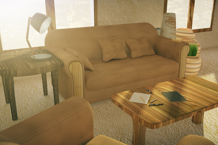 country style: Closeup of couch and table with lamp in country style interior. 3D Rendering