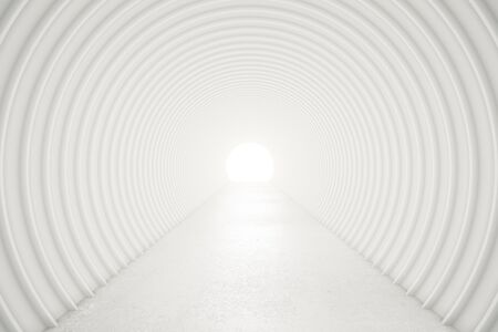 light at the end of the tunnel: Abstract white tunnel with light at the end. 3D Rendering