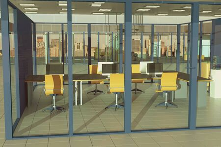 condominium: Coworking office interior with yellow swivel chairs and tile floor. 3D Rendering Stock Photo