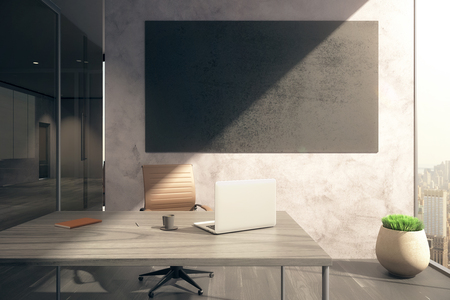 workspace: Office with workplace, blank blackboard on wall, window with city view and sunlight. Mock up, 3D Rendering