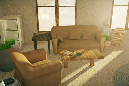 cottage: Brown sofa and armchair in country style interior. 3D Rendering