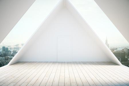 Loft interior design with light wooden floor and windows revealing city view. 3D Rendering