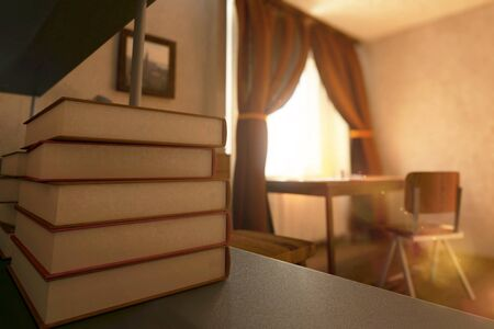 close: Closeup of book stack in sunlit interior with workplace, picture frame and curtains. 3D Rendering
