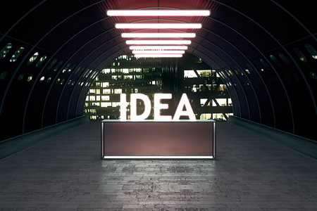 light at the end of the tunnel: Idea concept with stand in tunnel illuminated by lamps. 3D Rendering