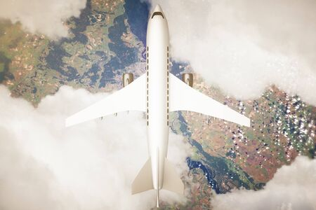 above clouds: Top view of airplane and clouds above landscape. 3D Rendering Stock Photo