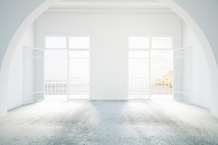 balcony: Bright interior design with concrete floor and balcony. 3D Rendering