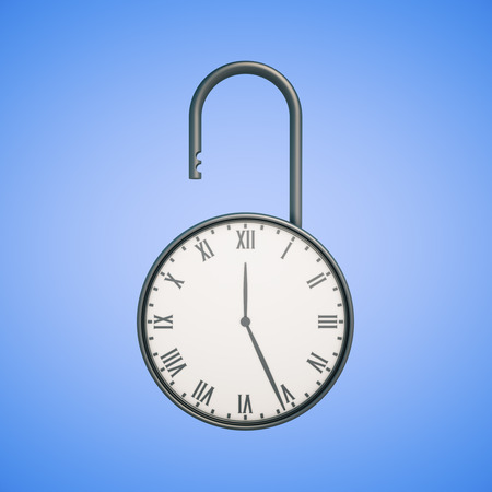 lock concept: Deadline concept with open clock lock on blue background. 3D Rendering Stock Photo