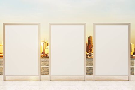 stopper: Observation ground with three blank banners and sunlit city background. Mock up, 3D Rendering Stock Photo