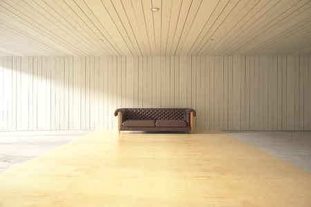 leather sofa: Wooden plank interior design with large leather sofa in the middle. 3D Rendering