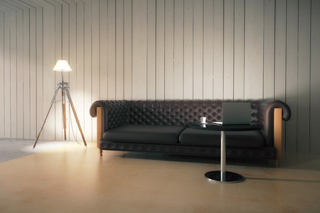 small lamp: Wooden plank interior with brown leather sofa, small table with laptop and floor lamp. 3D Rendering