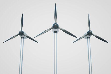 windpower: Three wind genetaros on light background. 3D Rendering