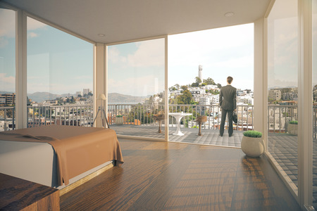 balcony view: Businessman in modern spacious bedroom interior with balcony and city view with sunlight. 3D Rendering