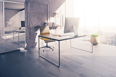 mirror on wall: Workplace in sunlit office interior with mirror, wooden floor and concrete wall. 3D Rendering Stock Photo