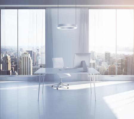 modern office interior design: Bright, modern office interior design with workplace, sunlight and New York city view. 3D Rendering