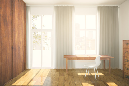 simple house: Interior design with brown wooden wardrobe, parquet, workplace and windows with curtains. 3D Rendering Stock Photo